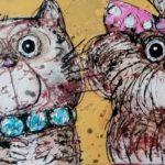 """""""Chat chien gâtés"""" - 40 x 20 cm"""