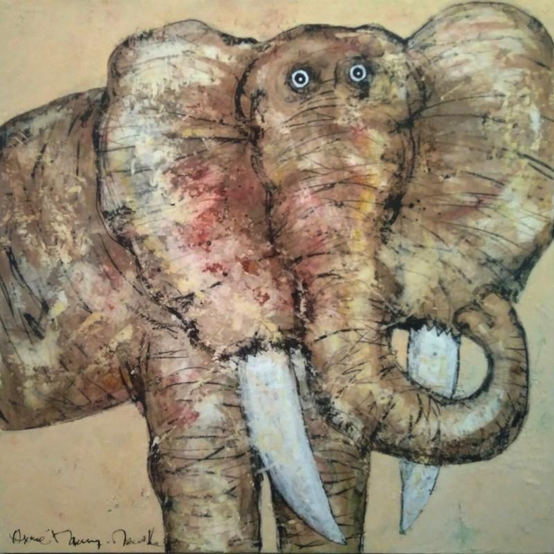 Eléphant portrait - 100 x 100 cm - 1 700 €