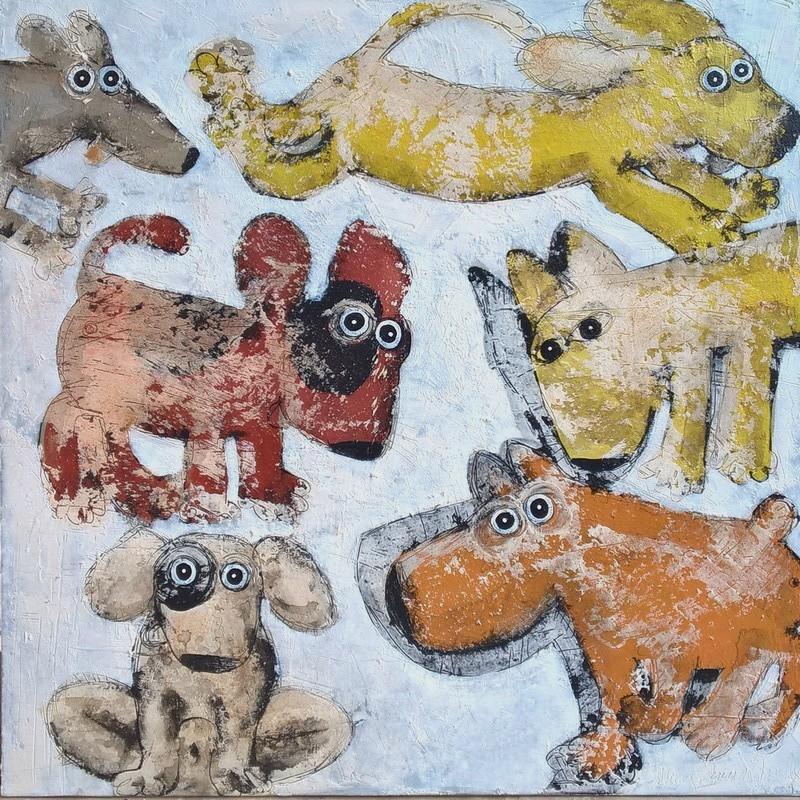 Gang de chiens 1 - 100 x 100 cm - 1 600 €