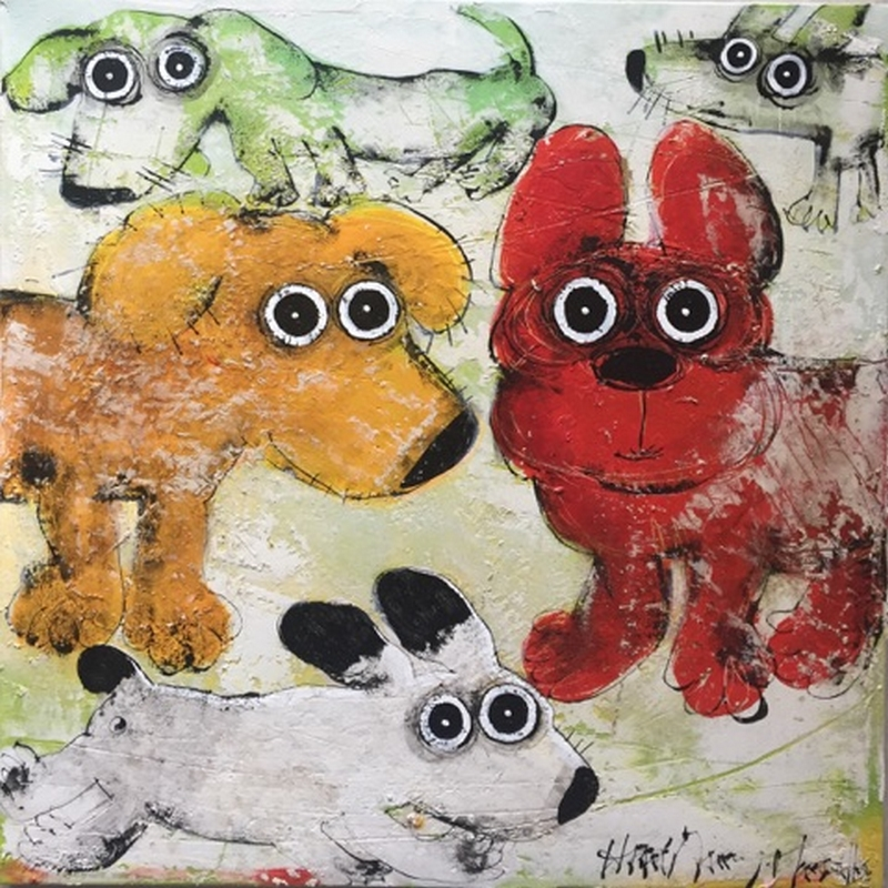 Gang de chiens 11 - 60 x 60 cm