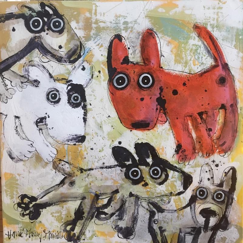 Gang de chiens 2 - 80 x 80 cm
