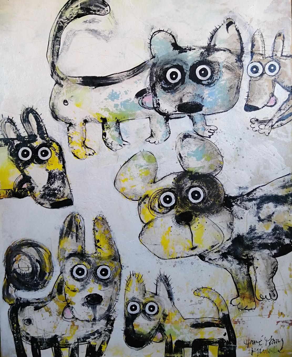 Gang de chiens 4 - 81 x 100 cm - 1 500 €