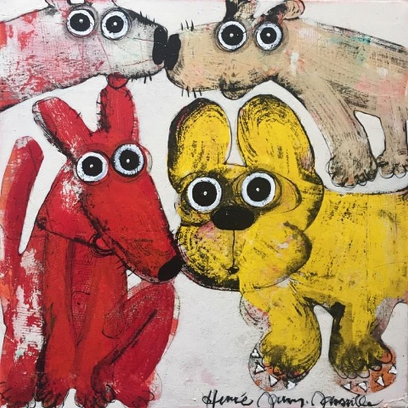Gang de chiens 6 - 50 x 50 cm