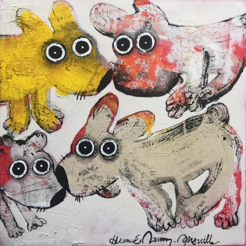 Gang de chiens 9 - 50 x 50 cm