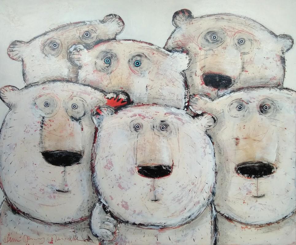 L'ours aux yeux bleus - 100 x 120 cm