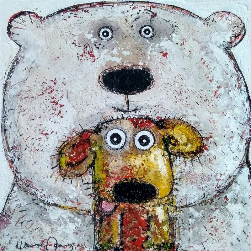 Ours et chien - 50 x 50 cm - 550 €