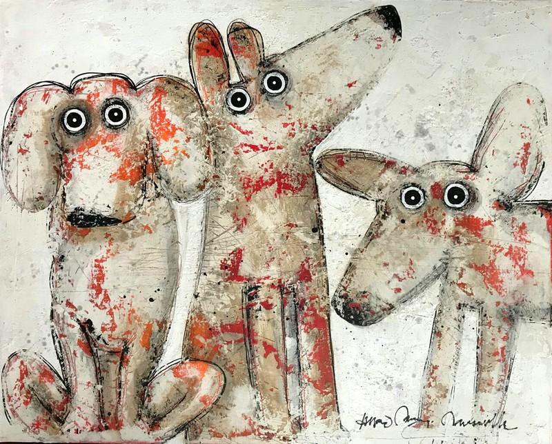 Trois chiens - 100 x 81 cm - 1 400 €