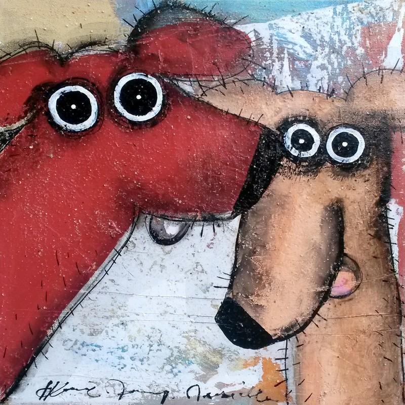 Deux chiens - 40 x 40 cm