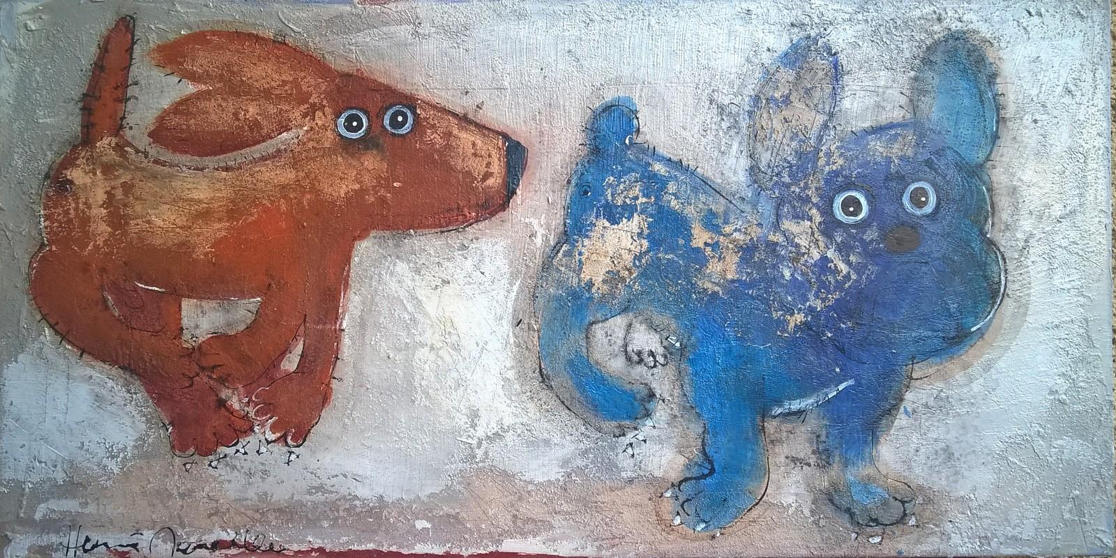 Deux chiens - 100 x 50 cm - 950 €
