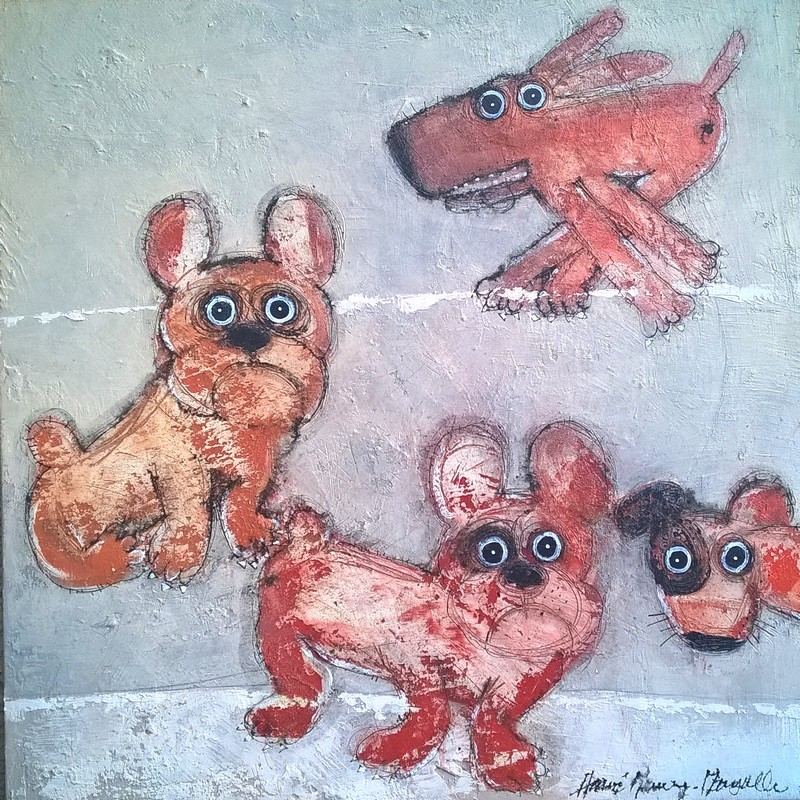 Gang de chiens 7 - 100 x 100 cm