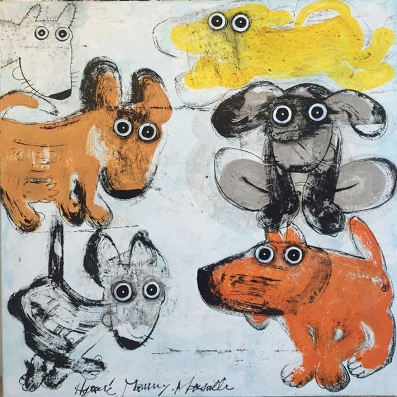 Gang de chiens 8 - 100 x 100 cm - 1 600 €