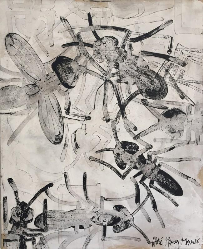 Fourmis encre - 81 x 100 cm