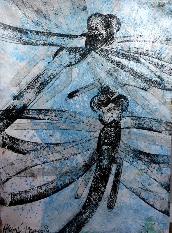 Deux libellules bleues - 73 x 100 cm