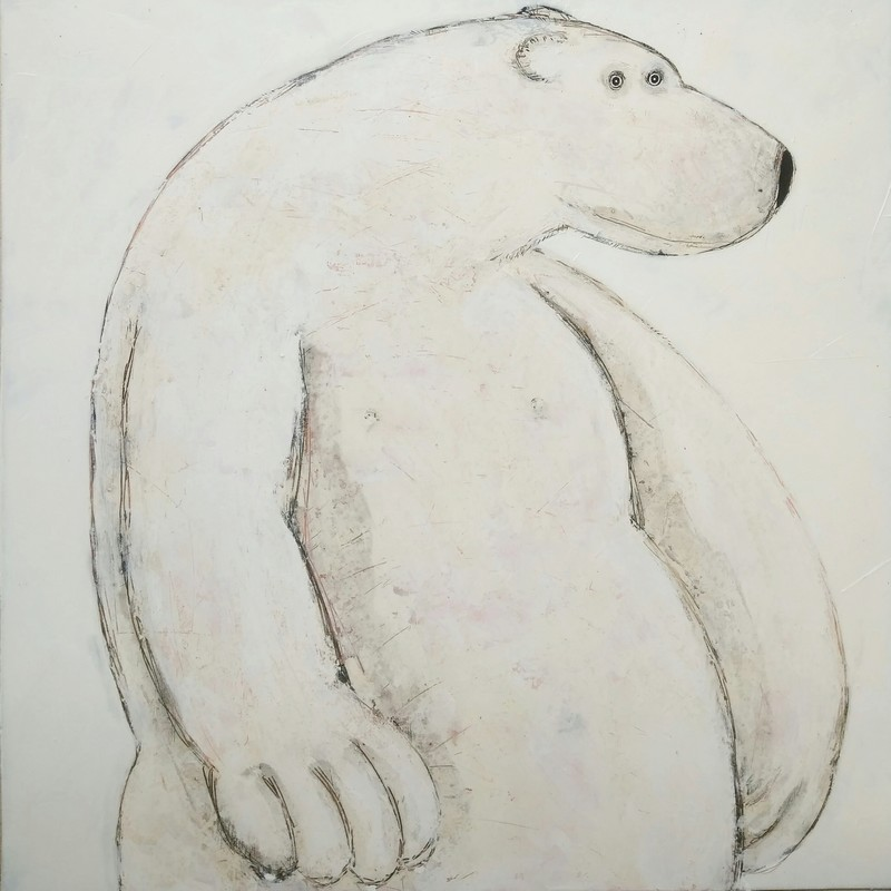 Grand ours blanc - 100 x 100 cm
