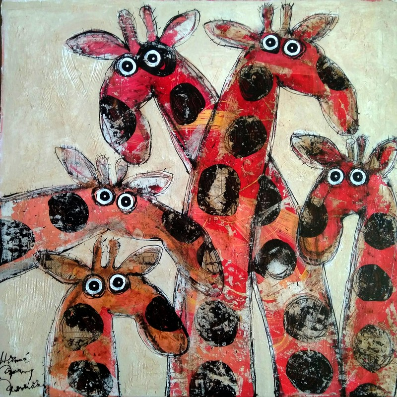 Groupe girafes - 80 x 80 cm - 1 200 €