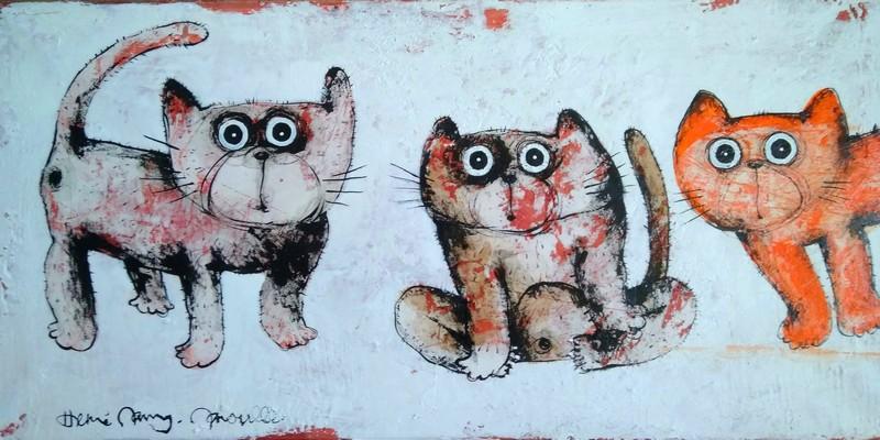Trois chats - 100 x 50 cm