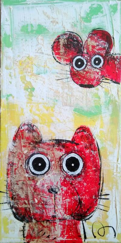 Un chat et une souris - 20 x 40 cm - 300 €