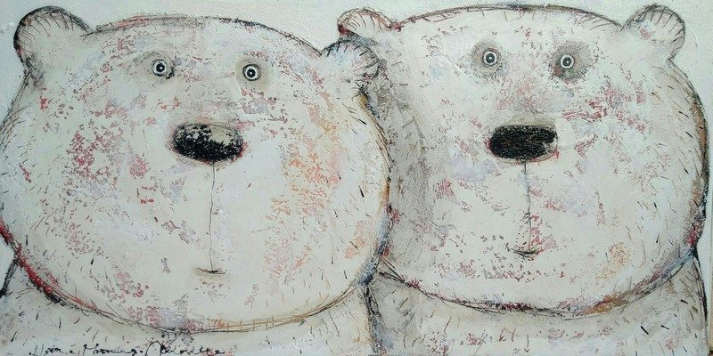 Couple d'ours - 100 x 50 cm