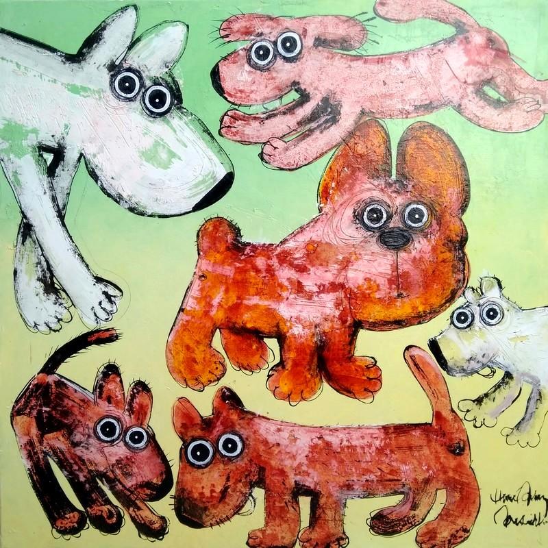 Gang de chiens 4 - 100 x 100 cm - 1 600 €