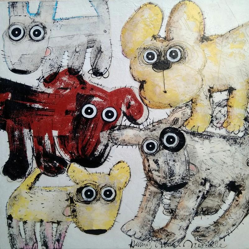 Gang de chiens 5 - 80 x 80 cm