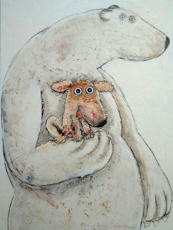 Ours et chien - 97 x 130 cm