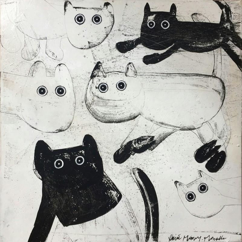Chats noir et blanc - 80 x 80 cm - 1 200 €