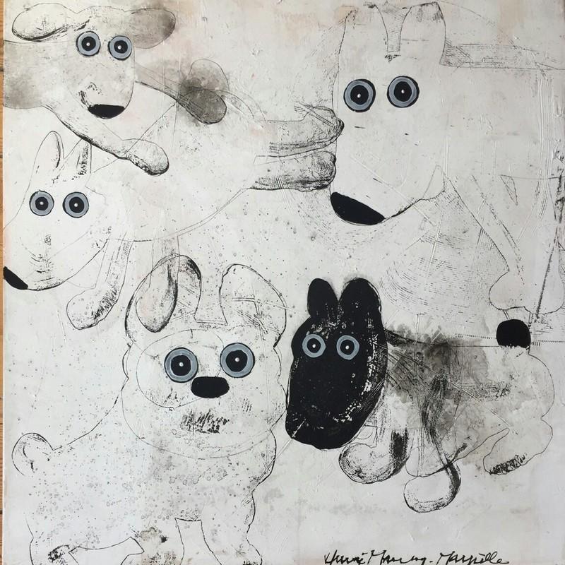 Chiens noir et blanc - 80 x 80 cm - 1 200 €
