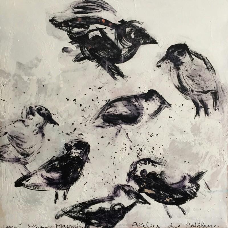 Danse des oiseaux - 100 x 100 cm