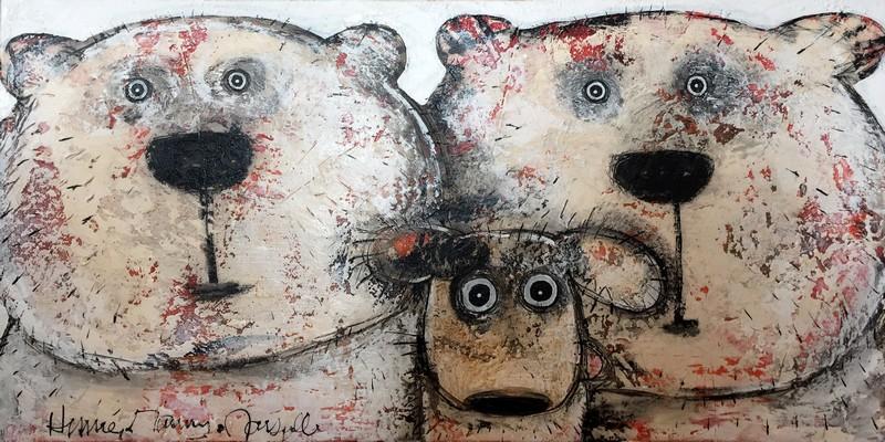 Selfie ours et chien - 100 x 50 cm