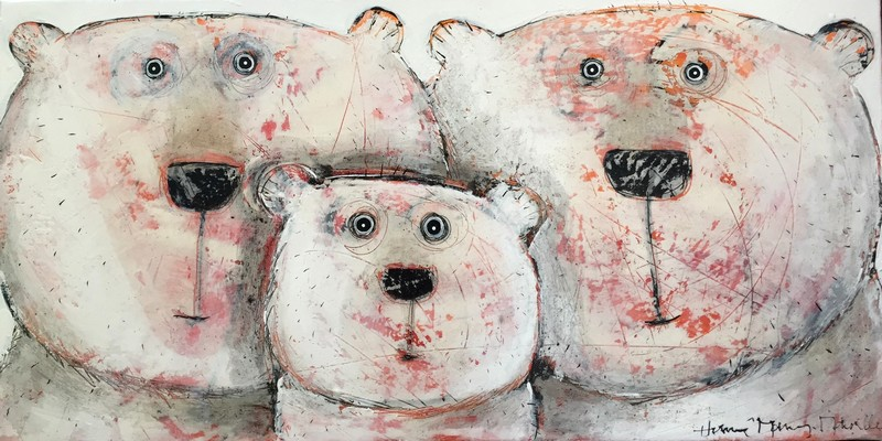 Selfie famille ours - 100 x 50 cm