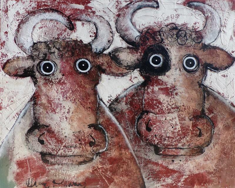Deux vaches - 100 x 81 cm - 1 400 €