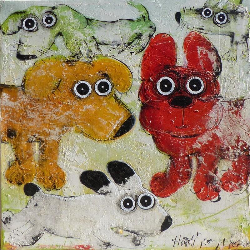 Gang de chiens 11 - 60 x 60 cm - 700 €