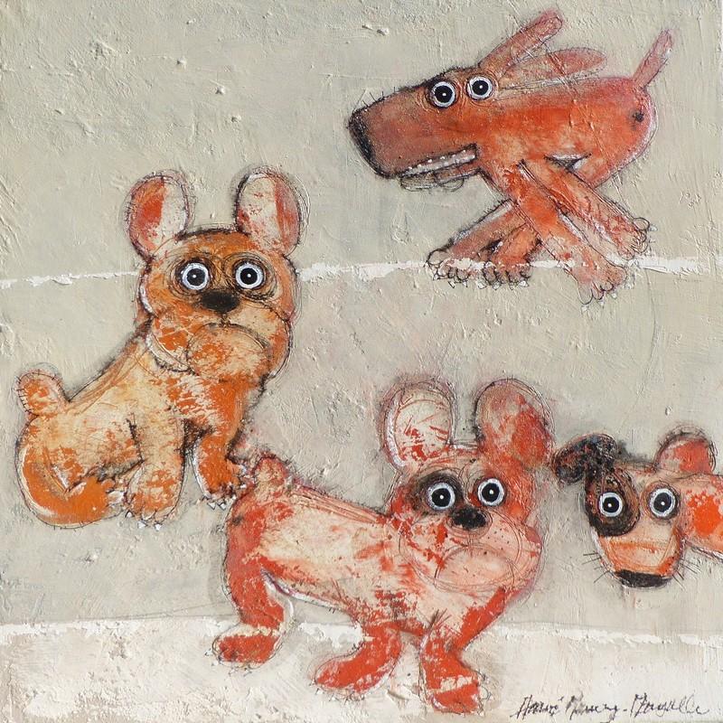 Gang de chiens 7 - 100 x 100 cm - 1 600 €