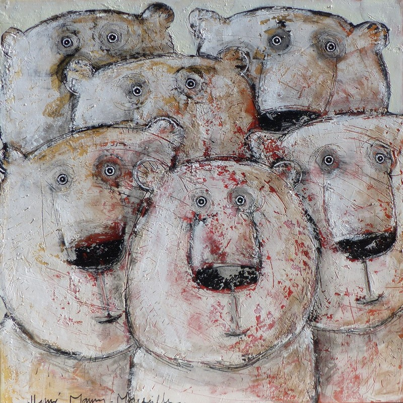 Team ours polaires - 100 x 100 cm