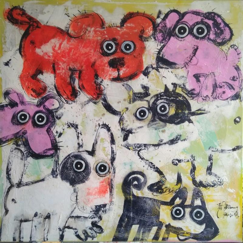 Gang de chiens 2 - 80 x 80 cm - 1 200 €