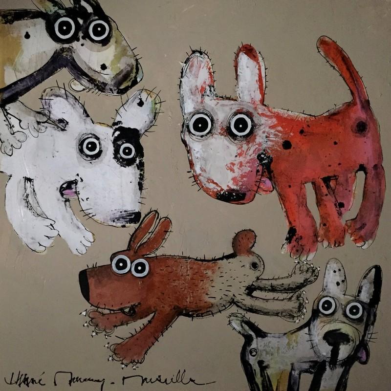 Gang de chiens - 80 x 80 cm - 1 200 €