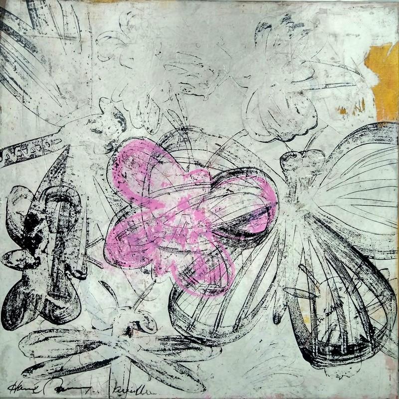 Insectes au papillon rose - 100 x 100 cm - 1 600 €