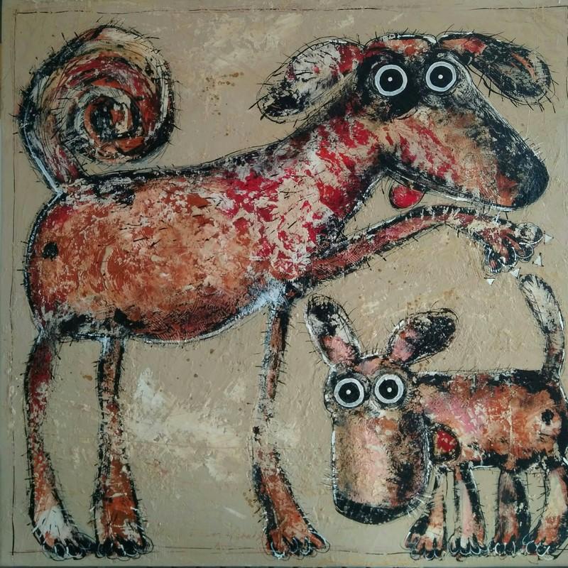 Les chiens - 80 x 80 cm - 1 200 €