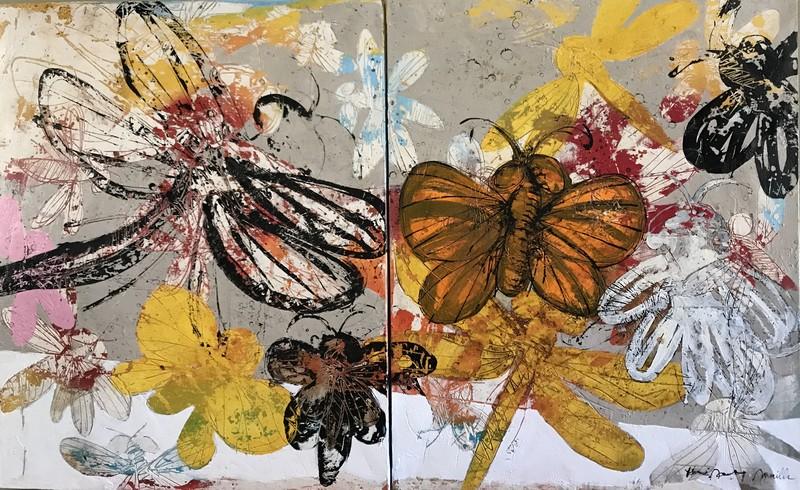 Dyptique insectes - 162 x 100 cm - 2 300 €