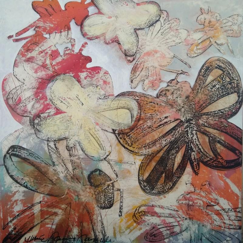 Papillons et libellules - 100 x 100 cm - 1 600 €