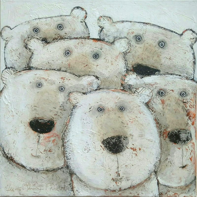 Groupe ours - 80 x 80 cm - 1 200 €