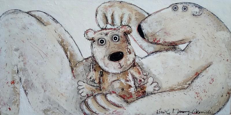 Ours et ourson - 120 x 60 cm - 1250 €