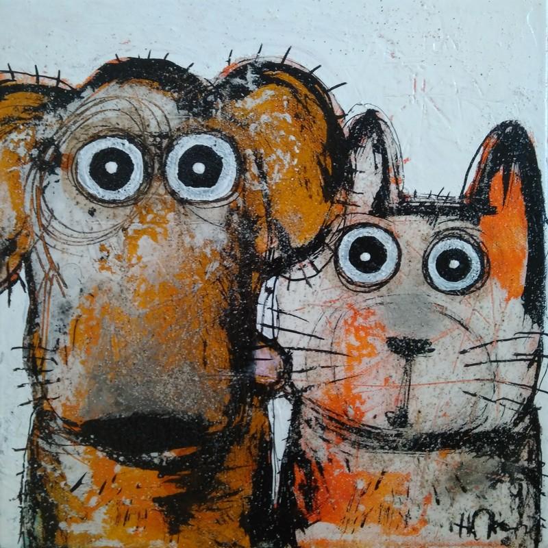 Chat et chien - 30 x 30 cm - 300 €
