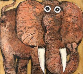 Eléphant 2 - 60 x 60 cm