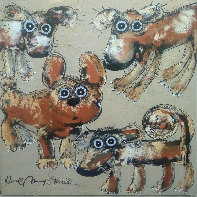 Gang de chiens 5 - 80 x 80 cm - 1 300 €