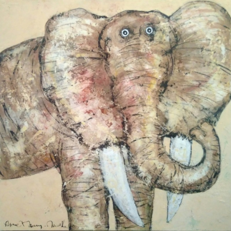 Eléphant portrait - 100 x 100 cm - 1 600 €