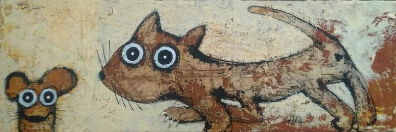 Chat et souris - 60 x 20 cm - 380 €