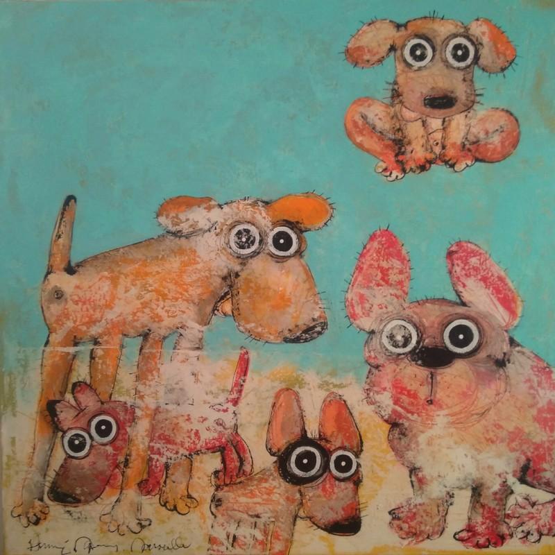 Gang de chiens 2 - 100 x 100 cm - 1 600 €
