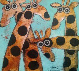 Girafes sur bleu