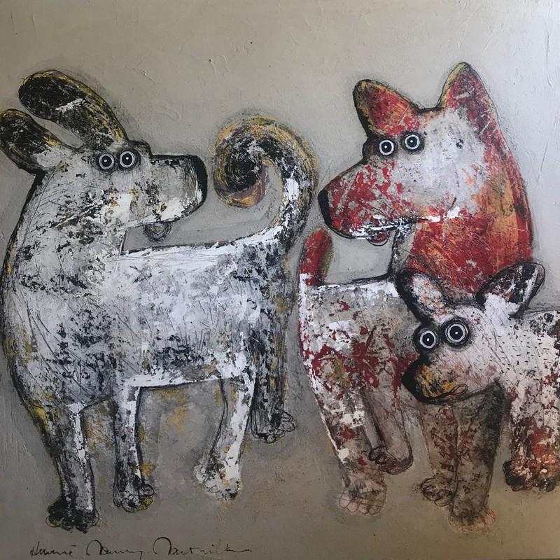 Trois chiens - 100 x 100 cm - 1 700 €